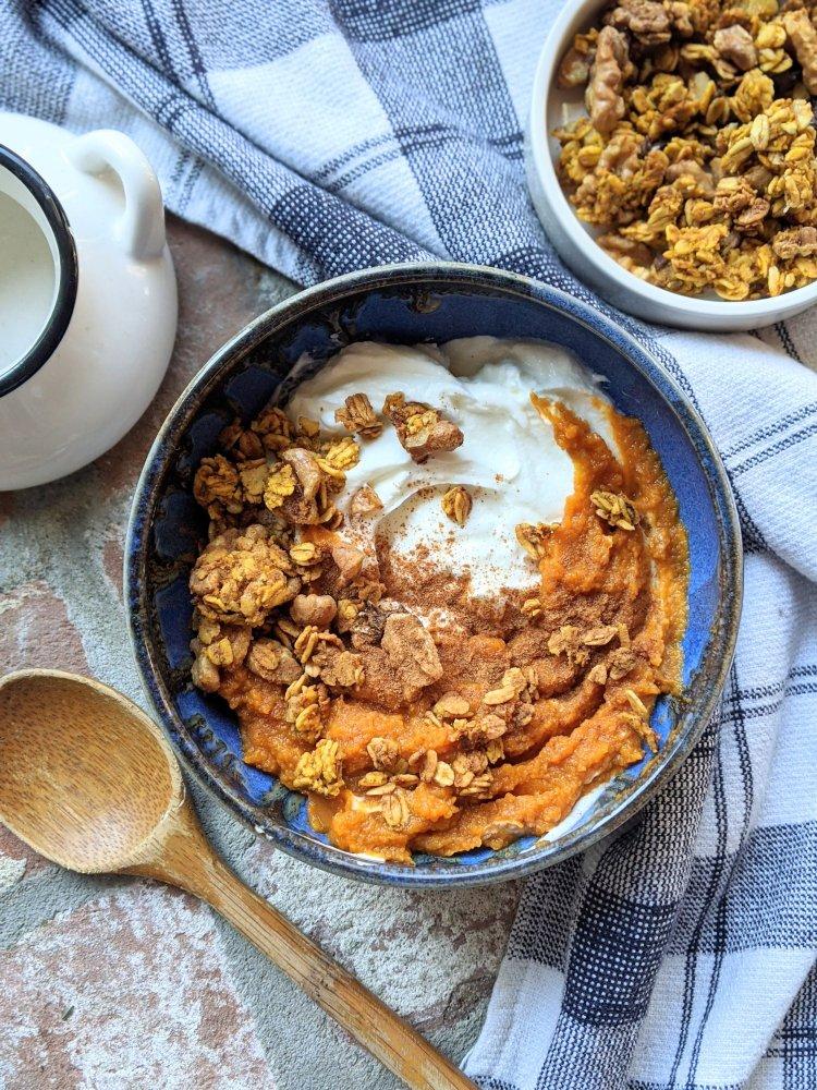 pumpkin yogurt bowl for breakfast brunch parfait easy granola bowls for healthy breakkies recipes veganuary gluten free vegan vegetarian healthy