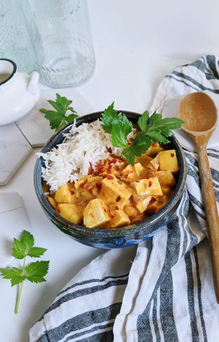 healthy vegan tofu curry recipe gluten free vegetarian coconut milk creamy curries indian thai high protein vegetable curry dinner recipe