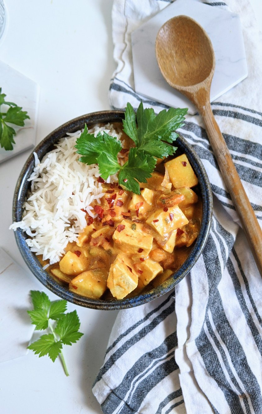 coconut curry tofu recipe one pot easy weeknight dinner recipes with coconut milk high protein vegan dinners recipe
