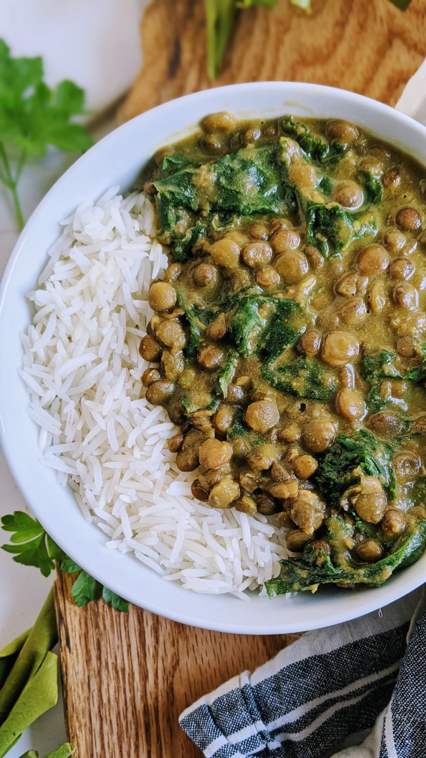 curried lentils recipe vegan gluten free healthy high protein lentil curry coconut milk recipes non dairy free curries with lentils and kale or spinach saag or kale