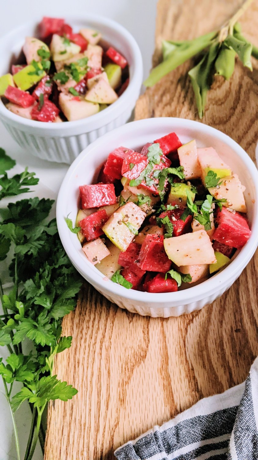 make ahead winter salad recipe with beets and apples and a healthy fresh apple cider vinegar acv dressing easy homemade fresh parsley and raw garlic healthy