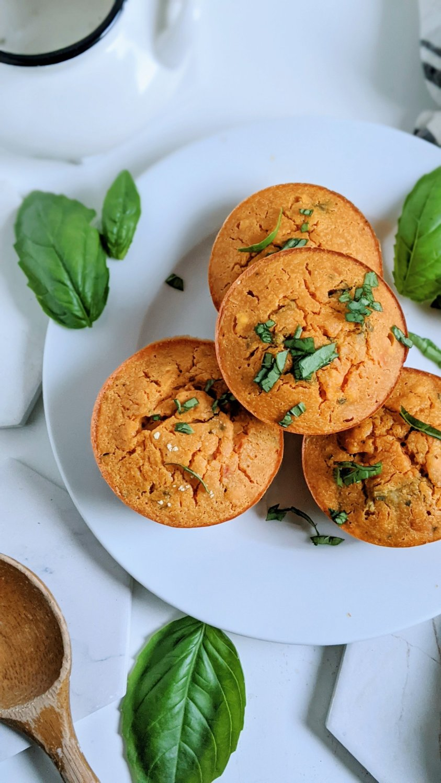 tomato basil muffins vegan gluten free savory muffin recipe chickpea flour basan healthy high protein plant based vegetarian meal prep breakfast recipes