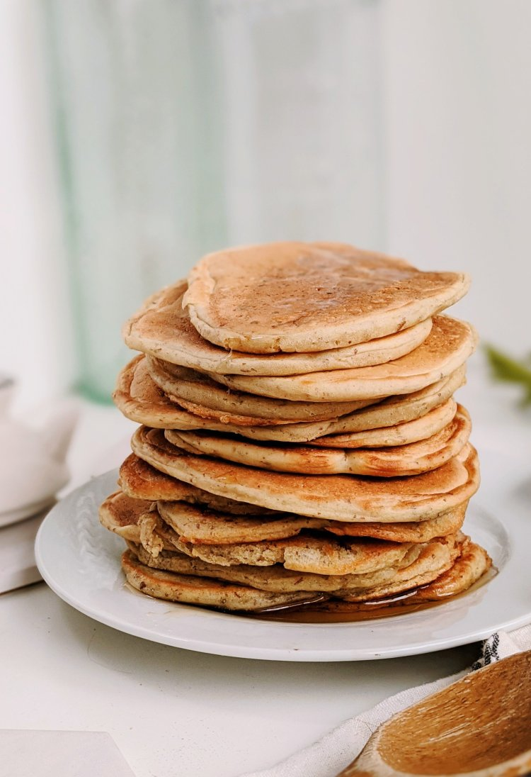 sourdough starter pancakes recipe vegan dairy free eggless recipe non dairy pancakes stacked for brunch or breakfast recipes healthy for guests company make ahead breakfasts with sourdough baking castoff