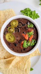 vegetarian black bean queso recipe gluten free high protein appetizer dip recipe healthy homemade vegetable dip with black beans at home super bowl party recipes game day recipes