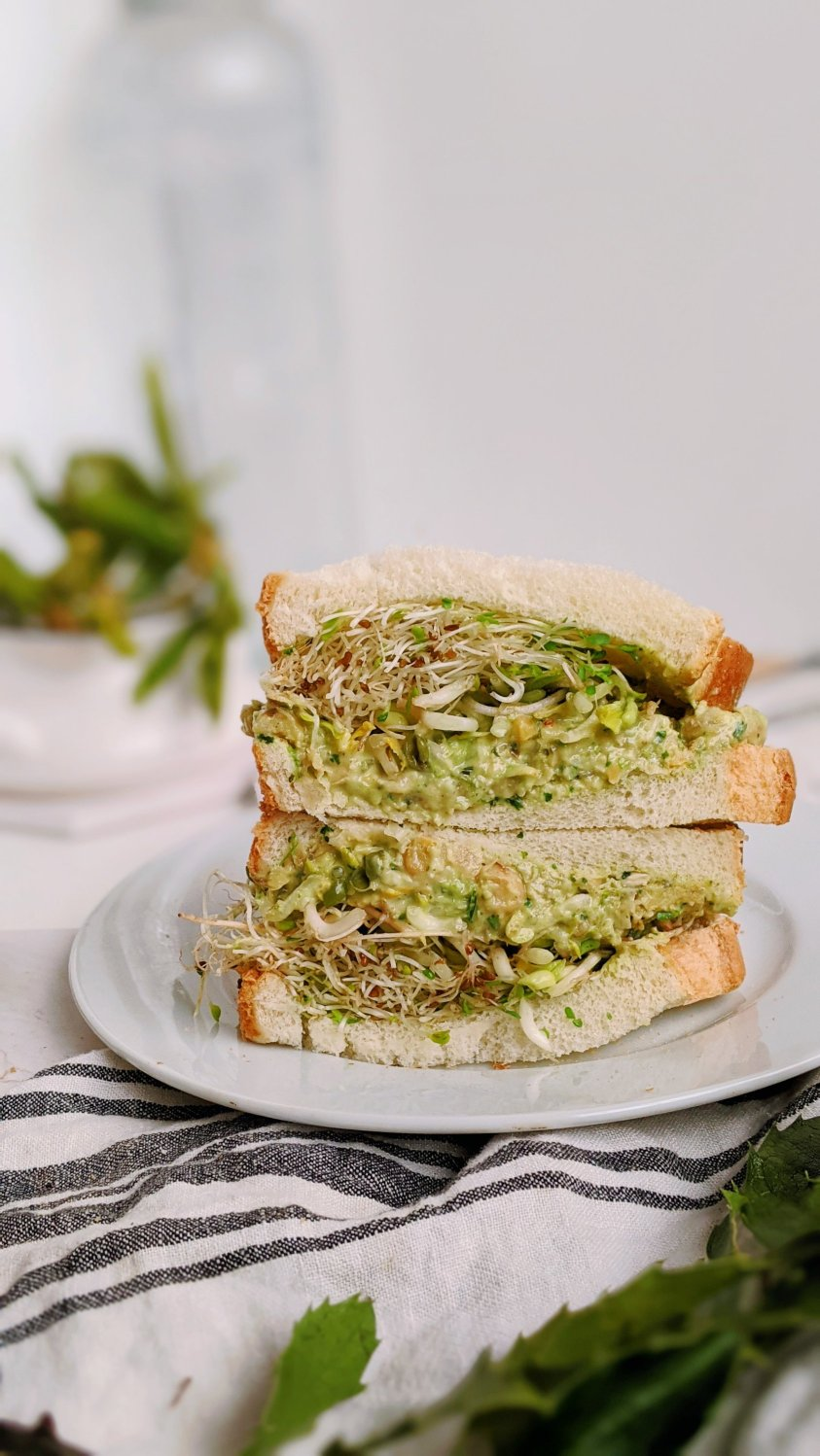dairy free pesto sandwich recipe vegan gluten free no cheese pesto sandwich with chickpea salad healthy basil pesto garbanzo bean salad sandwiches healthy plant based gluten free picnic recipes for summer beach party