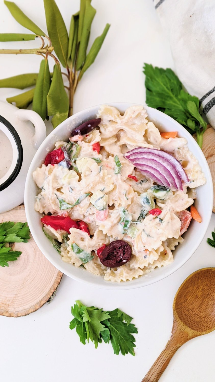 creamy vegan pasta salad with tzatziki dressing vegan vegetarian gluten free recipes for pot luck summer side dish salads