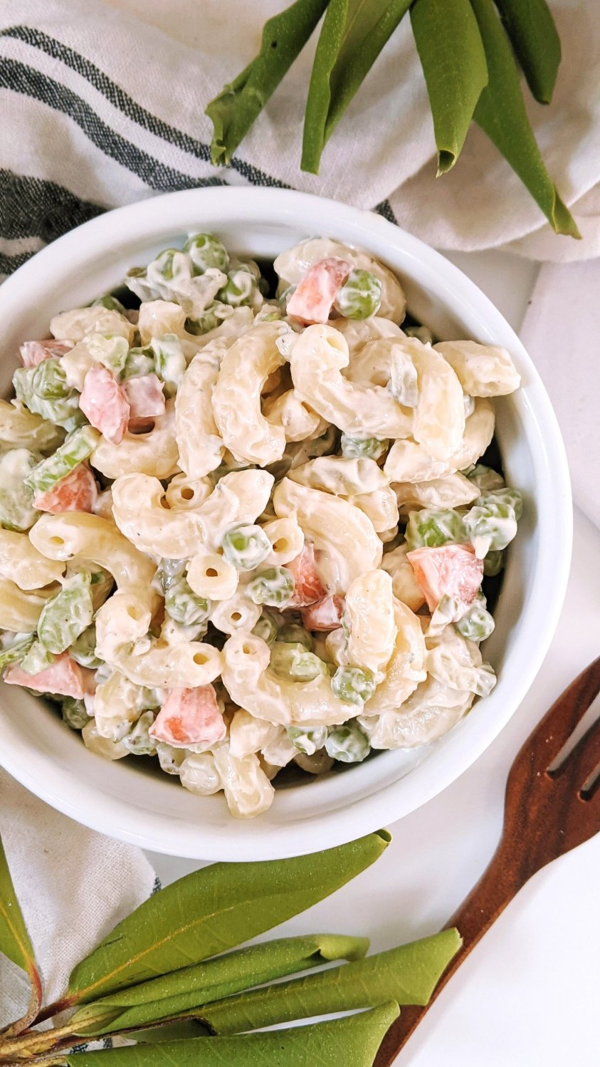 vegan macaroni salad with peas recipe dairy free gluten free macaroni salad recipes healthy plant based ranch mac salad with peas