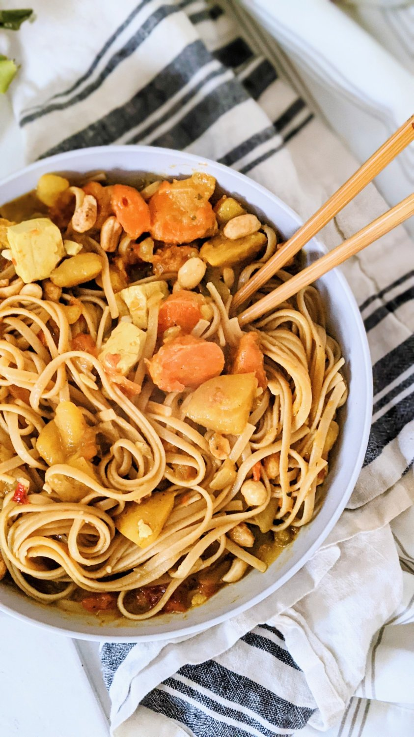 peanut curry pasta recipe peanut butter curry noodles with vegetable curry with peanut sauce vegan gluten free meatless thai noodle bowl recipe veggies