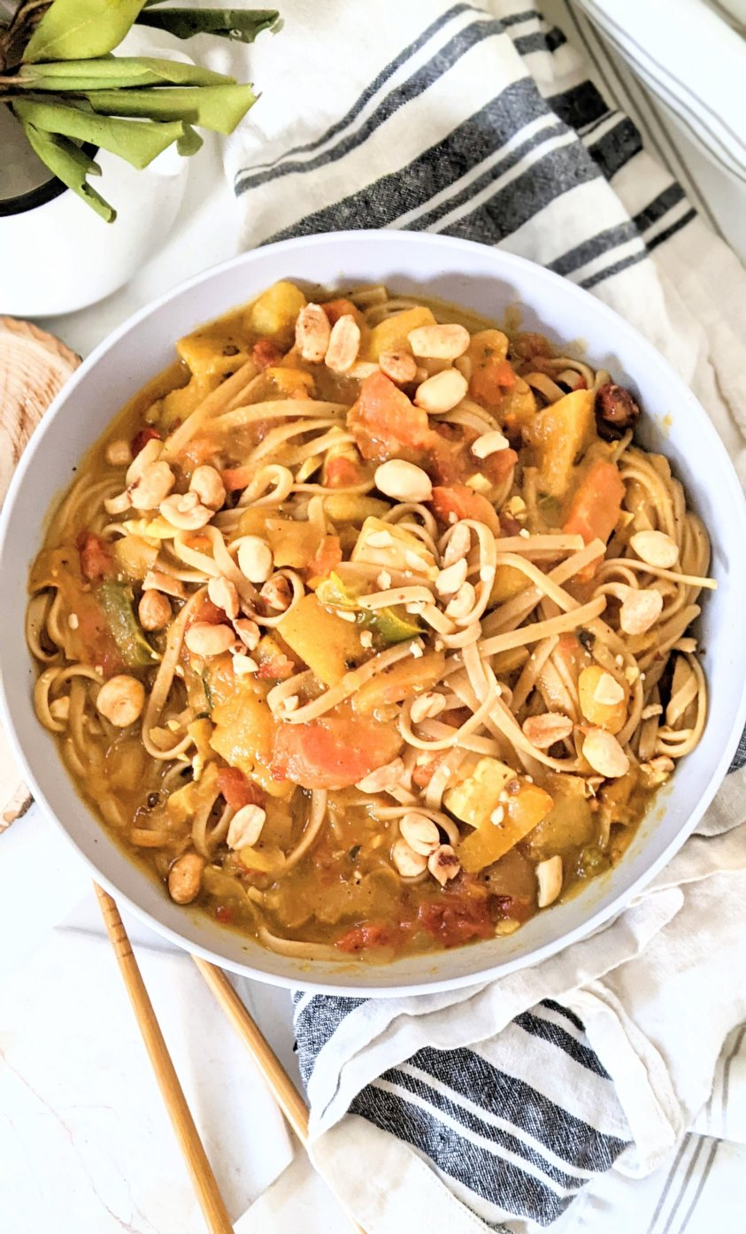 gluten free peanut curry noodles recipe vegan vegetarian thai peanut noodles recipe roasted peanut pasta bowl dinner healthy meatless