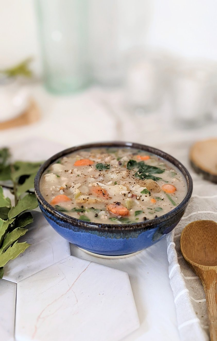 plant based wild rice potato soup vegan dairy free coconut milk potato soup recipe plant based soups for meal prepping recipes for fall autumn seasonal soups vegetarian meatless meal prep lunch ideas