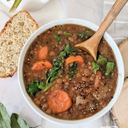 vegan oil free lentil soup recipe healthy fat free lentil soup vegetarian pressure cooker soups meal prep green lentil soup with greens