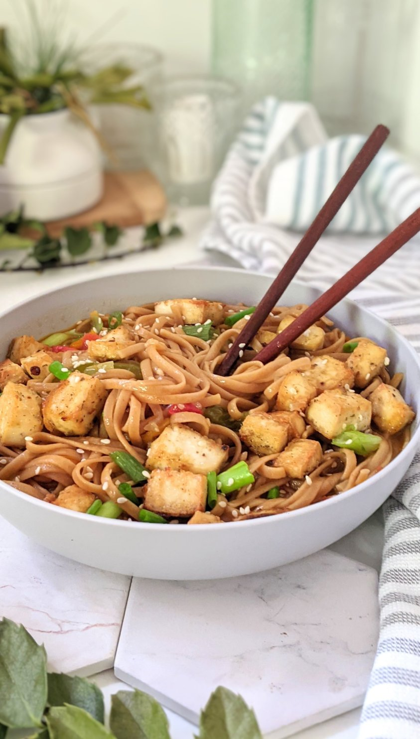 gluten free sticky garlic noodles vegetarian recipes with rice noodles dinner ideas stir fry tofu noodles sesame oil plant based asian dinner recipe ideas