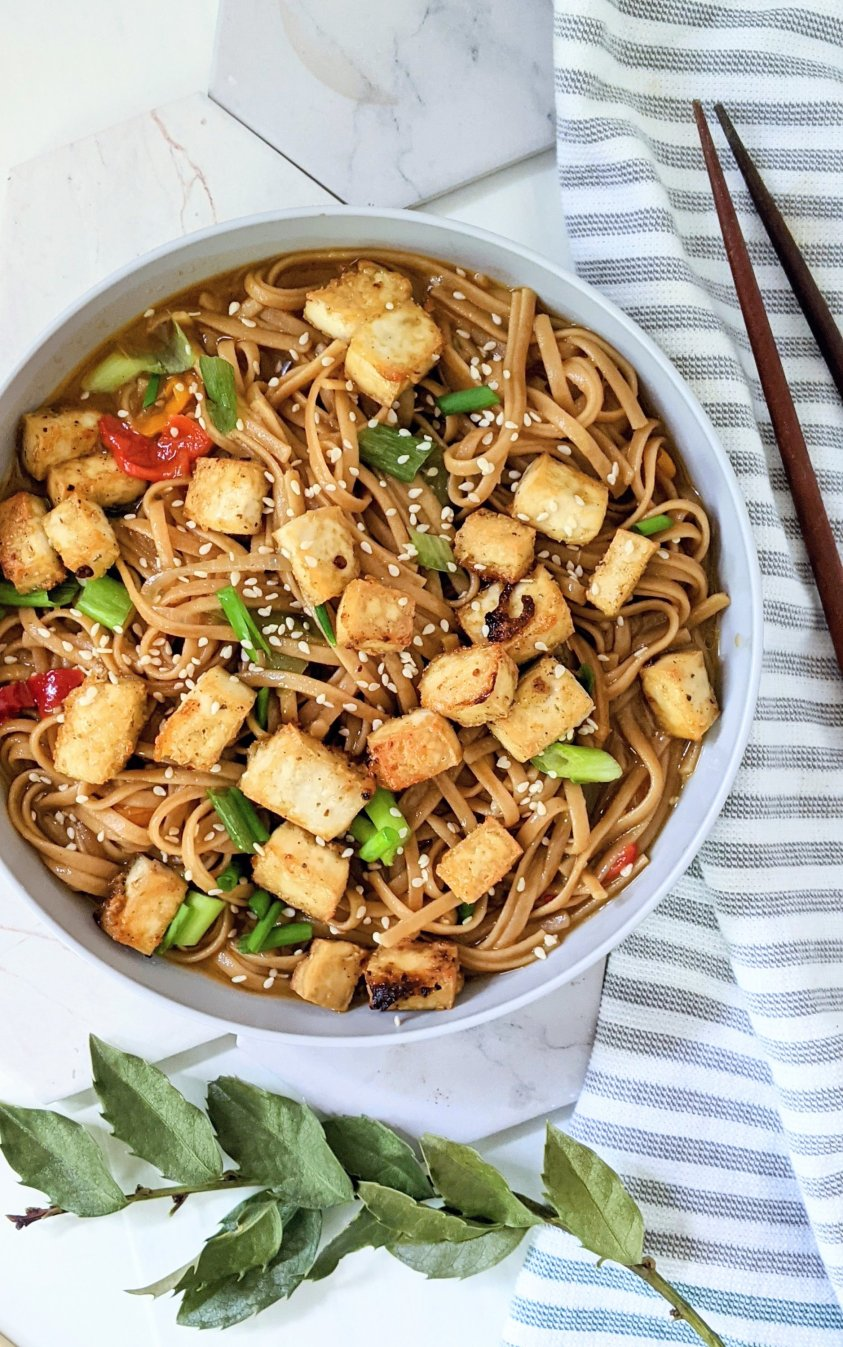 vegan sticky garlic noodles with tofu recipe vegetarian asian noodles easy weeknight dinner ideas with tofu recipes vegan vegetarian plant based recipes healthy tofu dishes