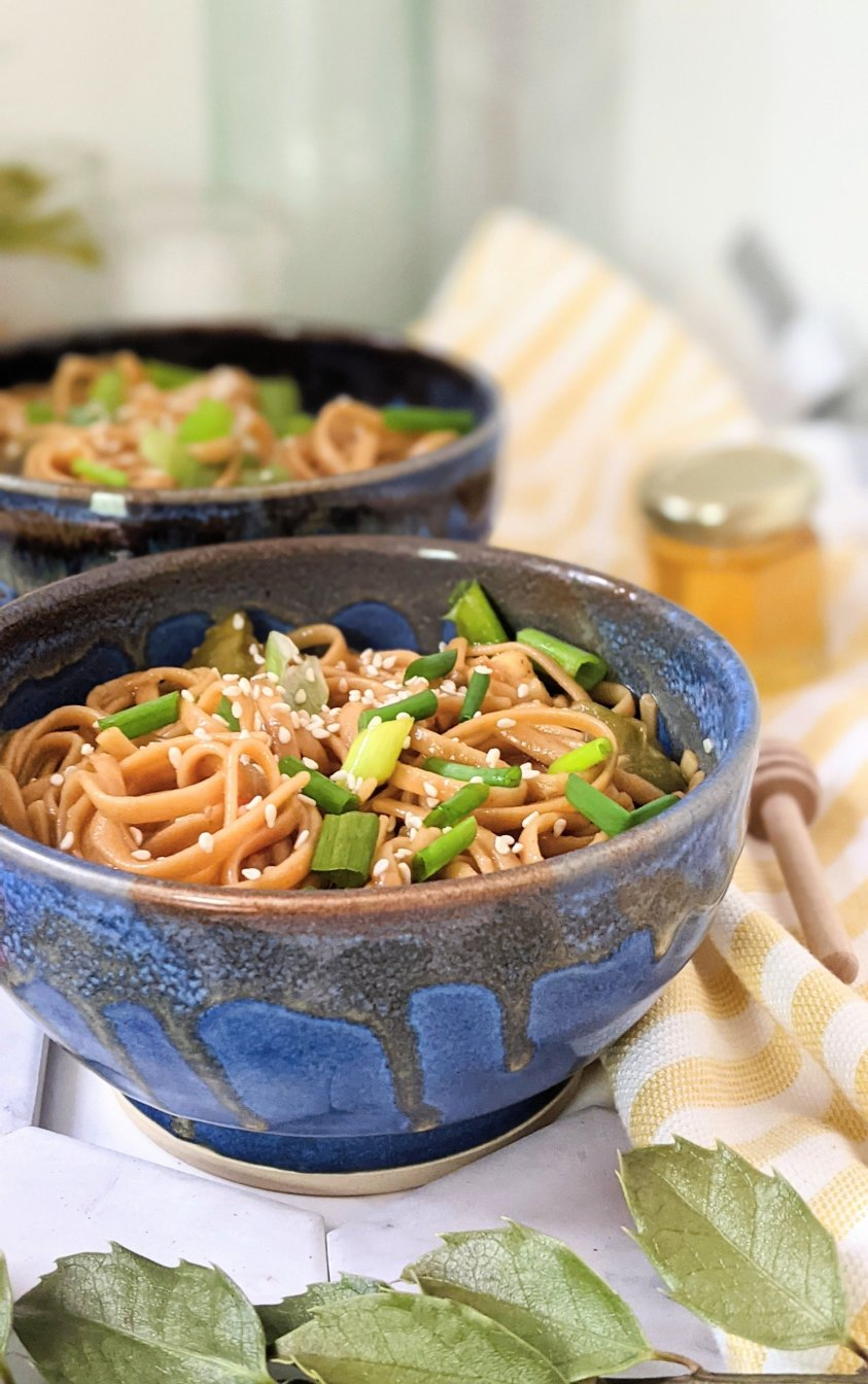 pressure cooker honey garlic noodles with tamari vegetarian gluten free noodle recipe with sesame seeds green onion sriracha spicy honey noodles instant pot