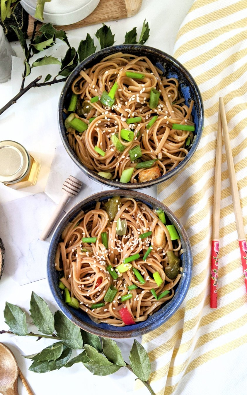 vegetarian garlic noodles instant pot recipe honey noodles recipe plant based egg free dairy free pressure cooker noodles recipes