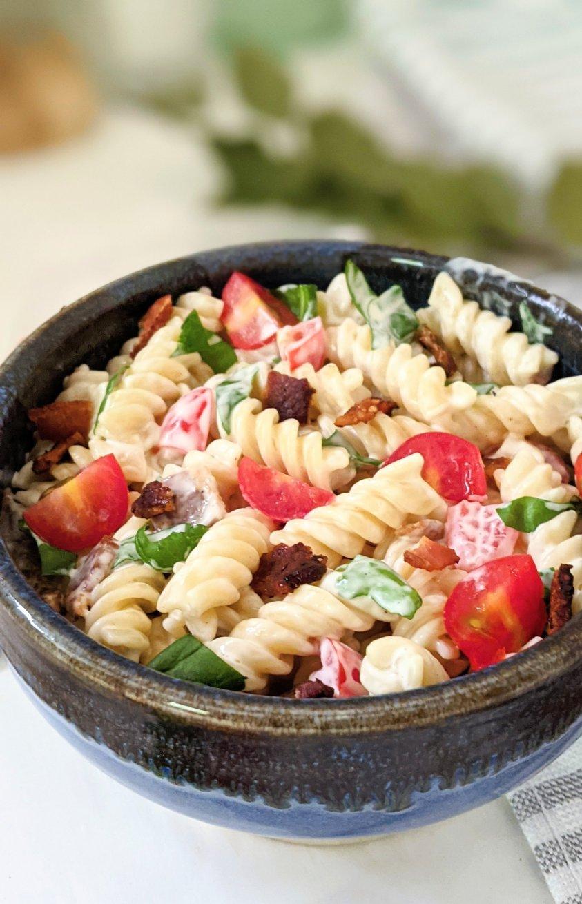 blt pasta salad recipe creamy ranch dressing pasta salad with bacon and tomato pasta side dishes for summer popular pasta salad recipes viral crack pasta salad recipes