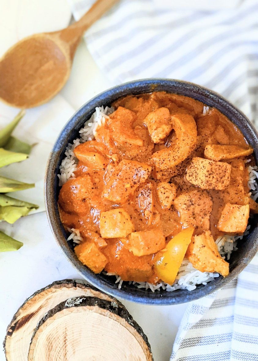 high protein butter chicken recipe gluten free non dairy chicken makhani recipe with coconut milk butter chicken without yogurt without dairy indian food with garlic naan and basmati rice