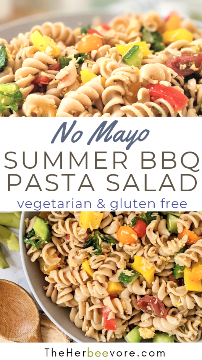 no mayo summer bbq pasta salad recipe vegetarian sunner bbq side dish pasta salad recipe with rotini tomatoes cucumber and bell pepper
