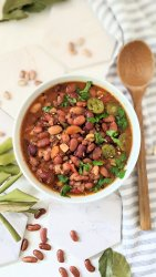 cowboy beans stew recipe vegetarian barbecue bean soup with pinto kidney white beans abd barbecue sauce bell pepper and corn southwest bean soup recipes western cowboy foods vegan