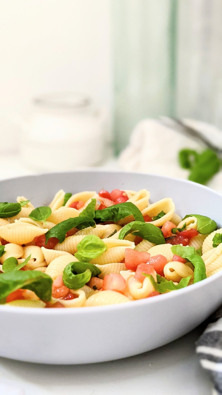 plant based bruschetta pasta salad with garden tomatoes pasta salad with fresh tomato pasta salad healthy summer tomato recipes vegan gluten free