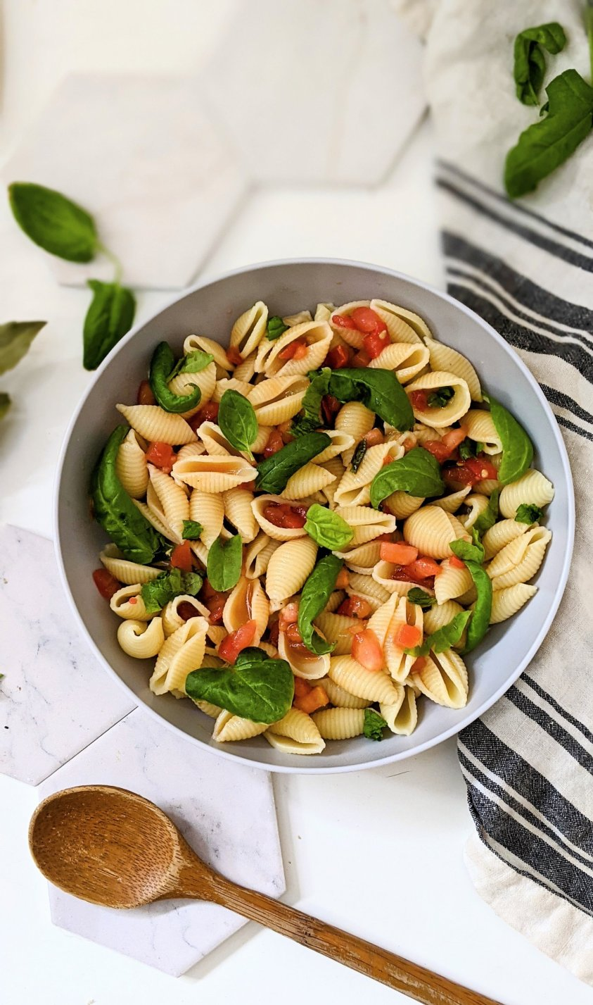 summer tomato pasta salad with bruschetta dressing healthy vegan and gluten free tomato side dishes with garden tomatoes recipes plant based pasta salads with tomato