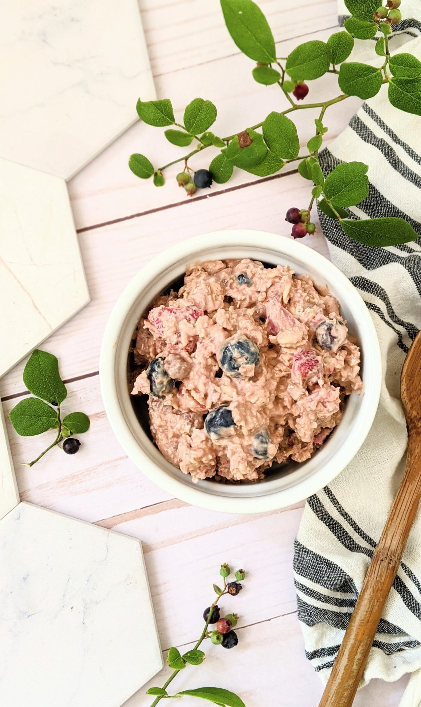 chocolate berry overnight oats recipe with blueberry strawberry cacao powder cocoa powder cinnamon and dairy free almond milk oat milk or nut milk