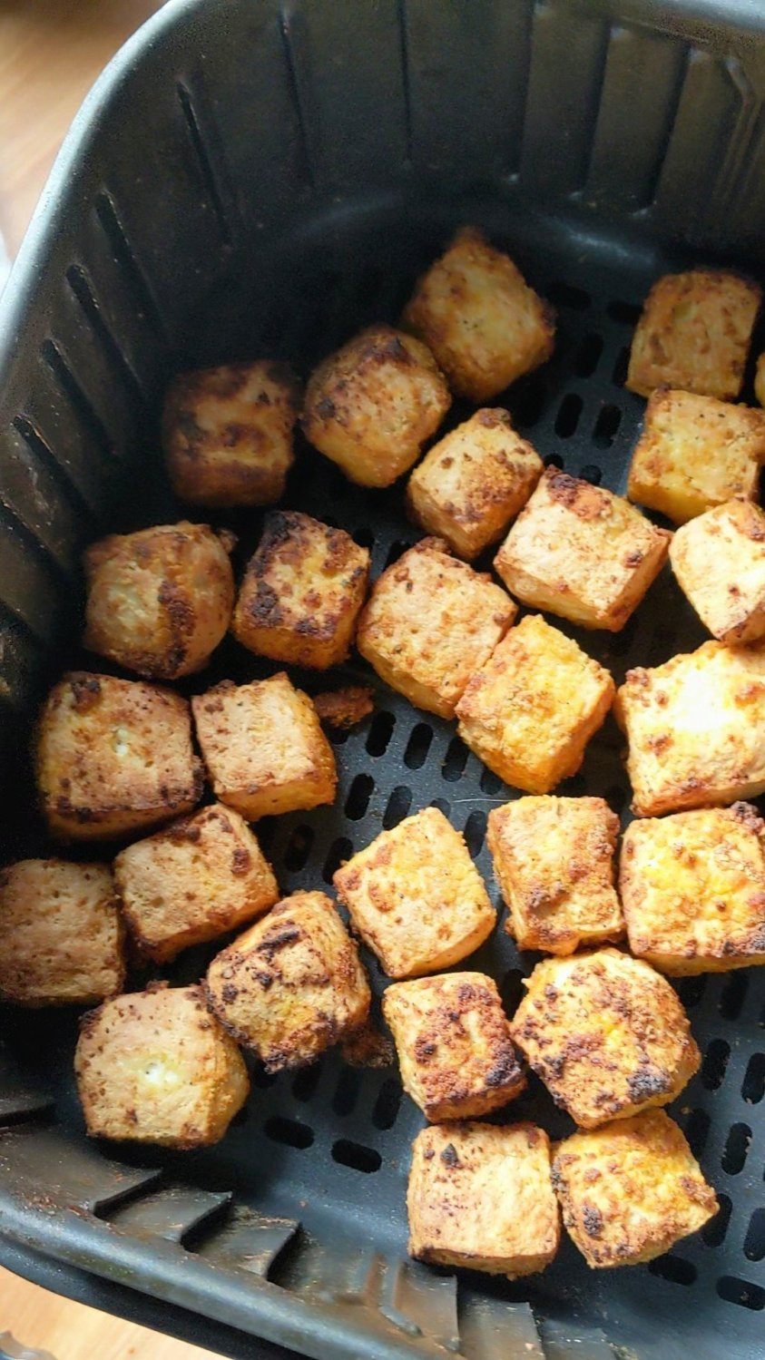 basket air fryer tofu recipe vegan chicken nuggets in the air fryer healthy plant based protein for kids tofu nuggets air fried low calorie high protein snack