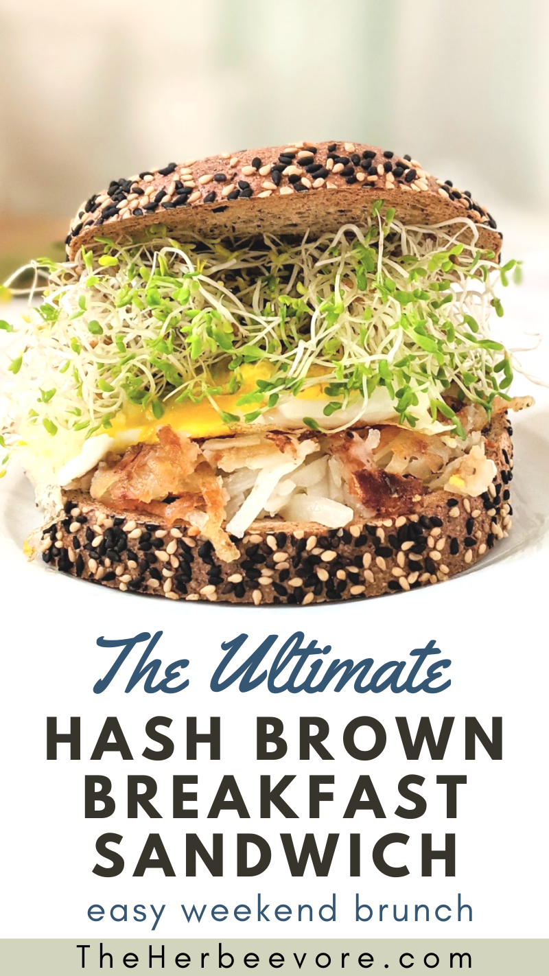 hash brown breakfast sandwich tiktok recipe viral food ideas with hash browns vegan and gluten free options on this sandwich with eggs and sprouts and toasted frozen hash brown recipes ideas