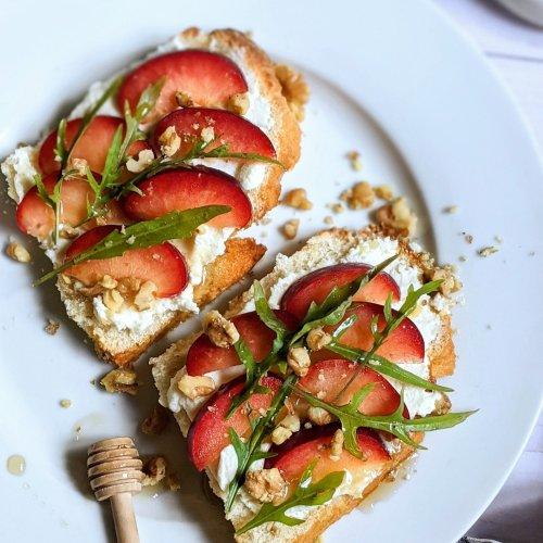 plum ricotta toast recipe with arugula and honey sweet and savory breakfast sandwich recipes easy brunch recipes with plums for breakfast