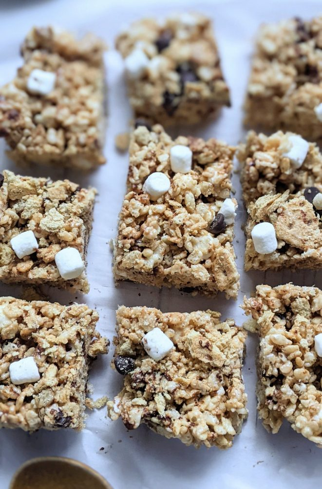s'mores rice krispies recipe rice krispie treats with s'mores ingredients milk chocolate chips marshmallows and graham cracker s'mores recipe