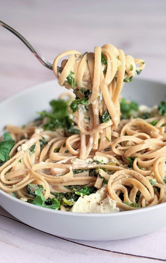 gluten free vegetarian kale ricotta pasta recipe with fresh sauteed onions garlic kale and gluten free spaghetti noodles and creamy ricotta cheese salt and pepper