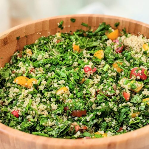 parsley tabouli with quinoa salad green onions olive oil mint and parsley salad with grains healthy plant based gluten free tabbouleh with quinoa no wheat
