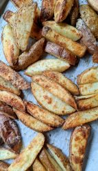 crispy oven baked steak fries on a sheet pan how to make fries without a deep fryer