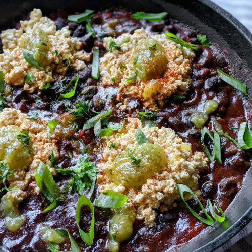 vegan shakshuka tofu and breakfast beans vegetarian turkish tofu and beans recipe breakfast with beans