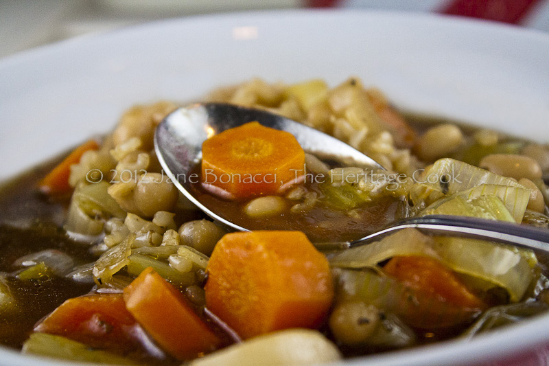 Close up of a bowl of beef vegetable soup from The Heritage Cook