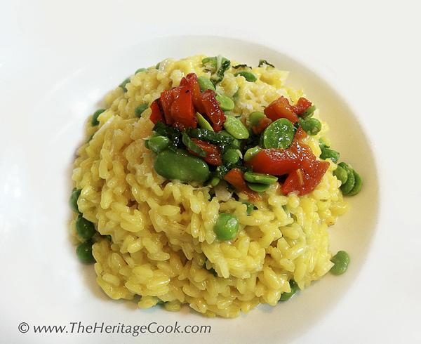 Pea and Saffron Risotto copyright 2013 Jane Evans Bonacci, The Heritage Cook