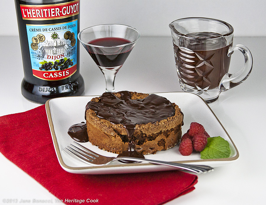 Cassis-Chocolate Souffle Cake; The Heritage Cook
