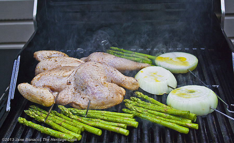 Butterflied chicken, asparagus and Vidalia onions on the grill