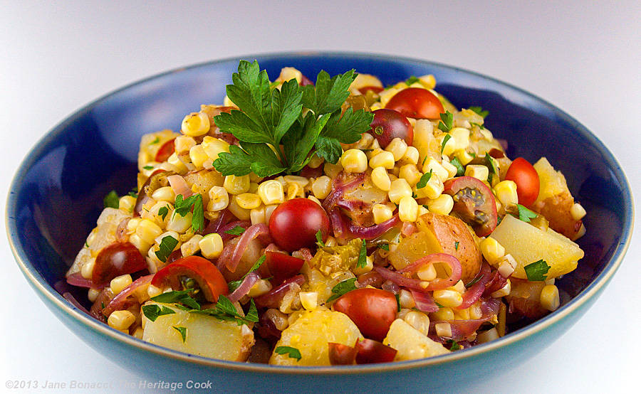"""Poblano & Corn """"Chowder"""" Salad from The Heritage Cook #SummerFest"""
