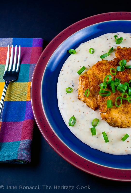 Breaded Chicken Cutlets with Madeira Cream Gravy; 2014 Jane Bonacci, The Heritage Cook.