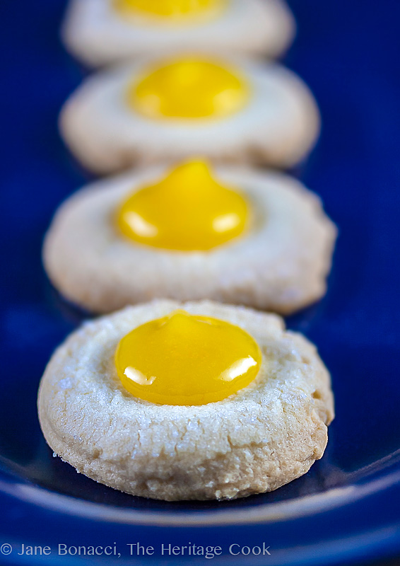 Meyer Lemon Shortbread Cookies with Meyer Lemon Curd (Gluten-Free); 2014 Jane Bonacci, The Heritage Cook; 75 New Year's Eve Party Recipes