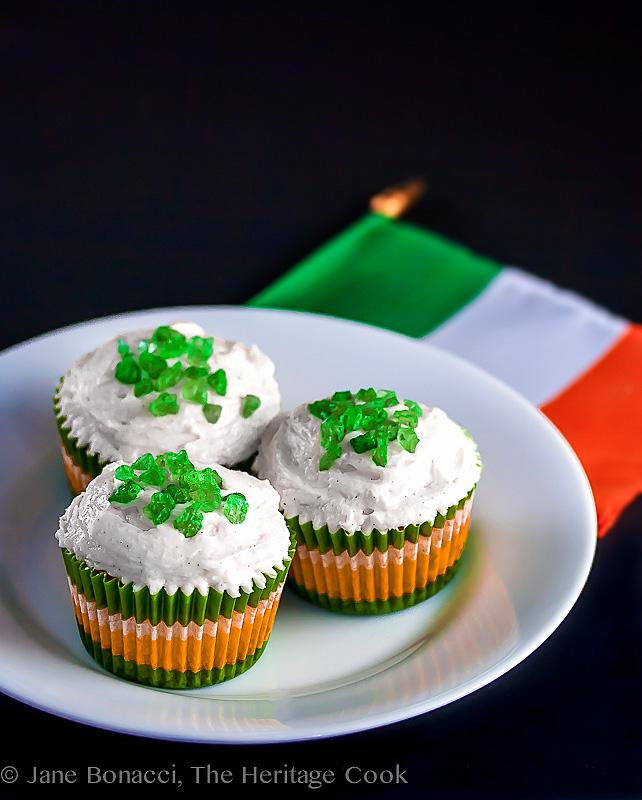 St Patrick's Day White Chocolate Cupcakes; 2014 Jane Bonacci, The Heritage Cook