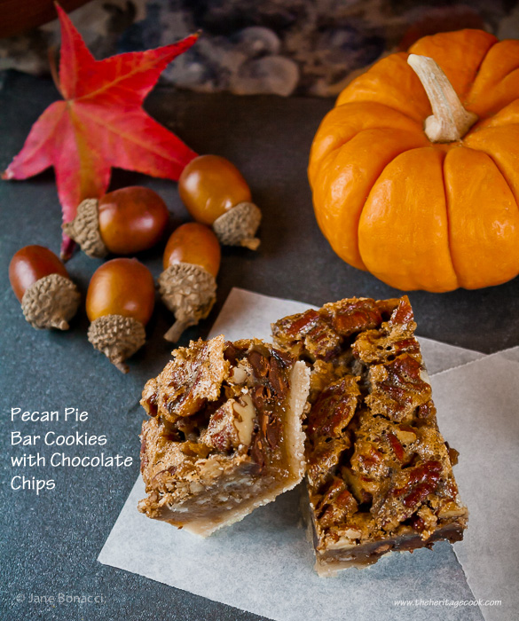 Pecan Pie Bar Cookies with Chocolate Chips, Thanksgiving, Desserts, Holidays, Nuts