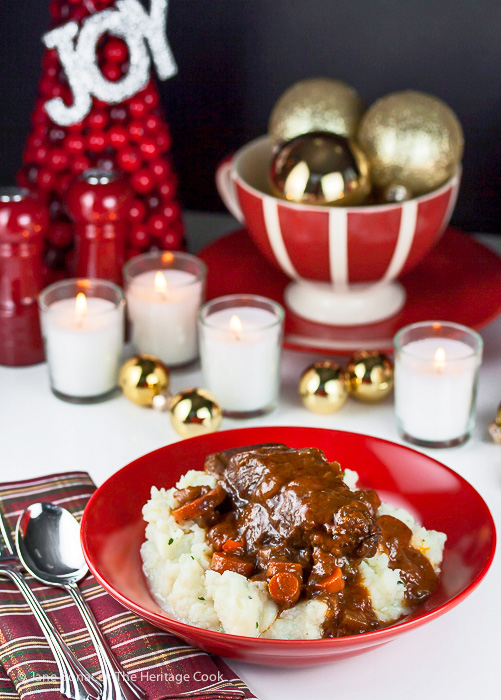 Merry Christmas - Joy - ornaments - candles - red wine braised short ribs with garlic mashed potatoes