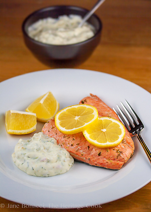 Poaching keeps the salmon tender and moist, and the dill tartar sauce is the perfect accompaniment