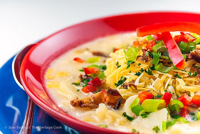 A combination of classic French Potato Leek Soup and American favorite Baked Potato Soup = Loaded Potato Leek Soup; 2015 Jane Bonacci, The Heritage Cook