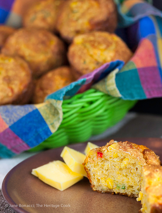 Smeared with butter or dipped in a bowl of hot soup, you will loved these muffins! Gluten Free Corn Muffins with Jalapeno and Cheese; 2015 Jane Bonacci, The Heritage Cook.