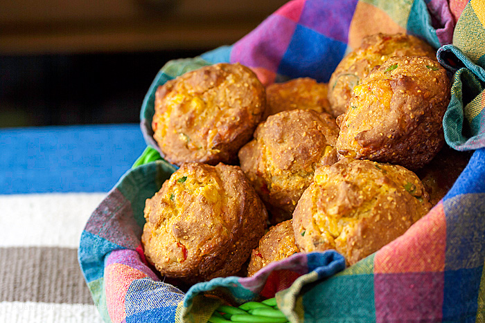 The perfect housewarming gift, hostess gift, or treat for your family; Gluten Free Corn Muffins with Jalapeno and Cheese; 2015 Jane Bonacci, The Heritage Cook.