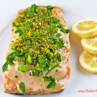 Grilled Salmon with Basil and Green Onions (Gluten-Free)