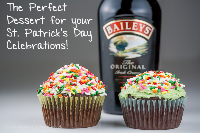 Irish Cream-Filled Chocolate Cupcakes for St. Patrick's Day; 2015 Jane Bonacci, The Heritage Cook